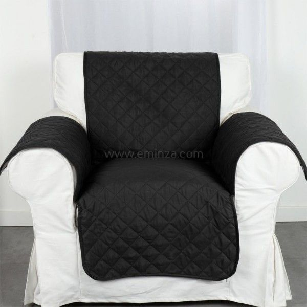 prot ge fauteuil club noir d co textile eminza. Black Bedroom Furniture Sets. Home Design Ideas