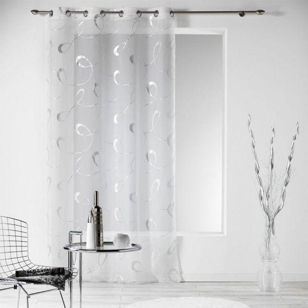 Voilage 140 x 240 cm infinity blanc rideau voilage store eminza - Voilage moderne fenetre ...