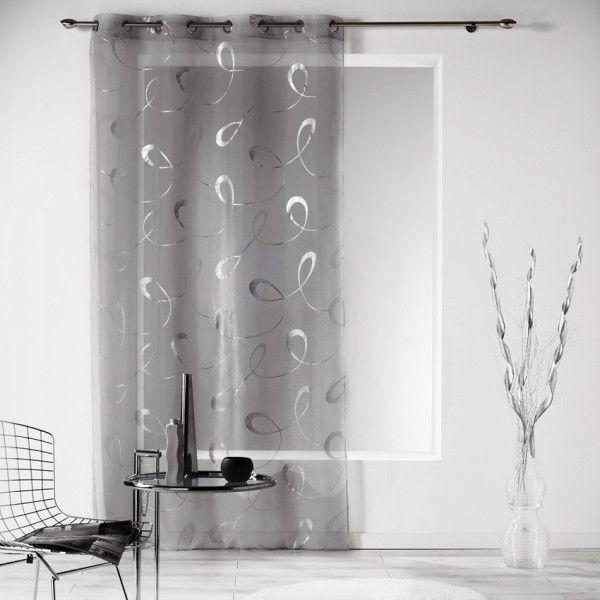 voilage 140 x 240 cm infinity gris rideau voilage store eminza