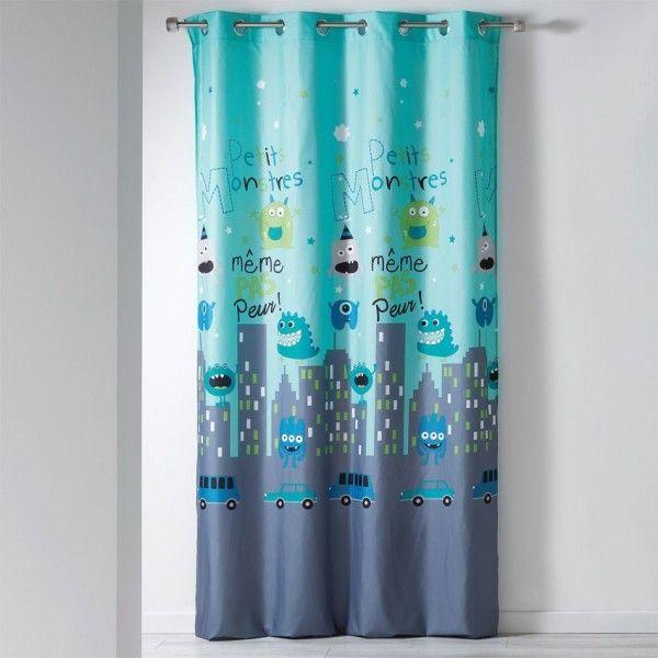 Rideau (140 x H240 cm) Petits Monstres Bleu