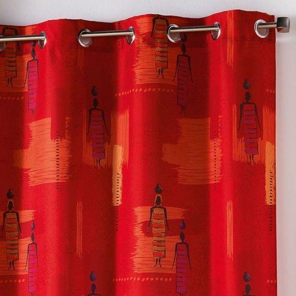 rideau tamisant 140 x h260 cm jaya rouge rideau. Black Bedroom Furniture Sets. Home Design Ideas