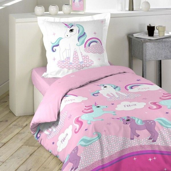 housse de couette et une taie 140 cm licorne linge de. Black Bedroom Furniture Sets. Home Design Ideas