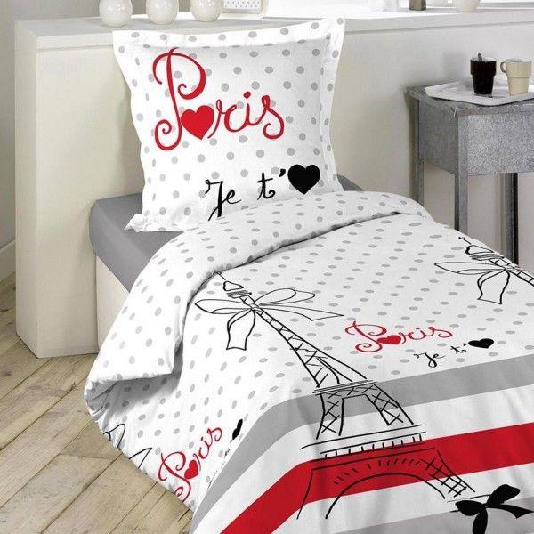 housse de couette et une taie 140 cm paris chic housse. Black Bedroom Furniture Sets. Home Design Ideas