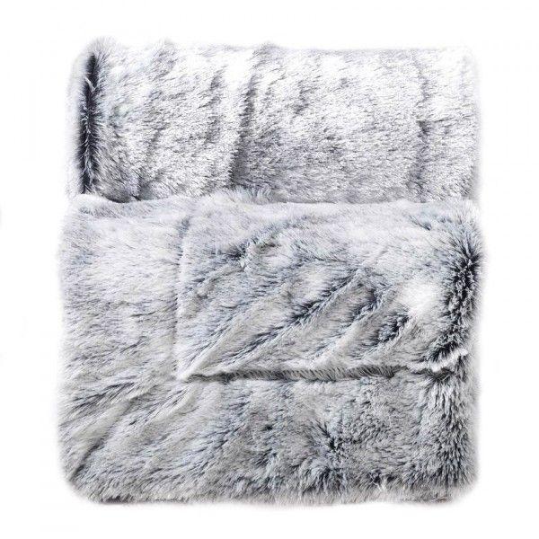 Plaid fausse fourrure 150 cm antartic gris d co - Plaids fausse fourrure pour canape ...
