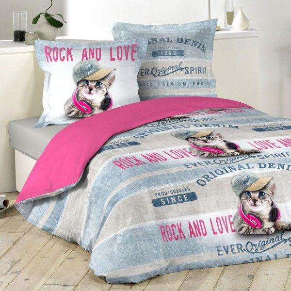 Housse De Couette Et Deux Taies 240 Cm Girly Cat Linge De Lit