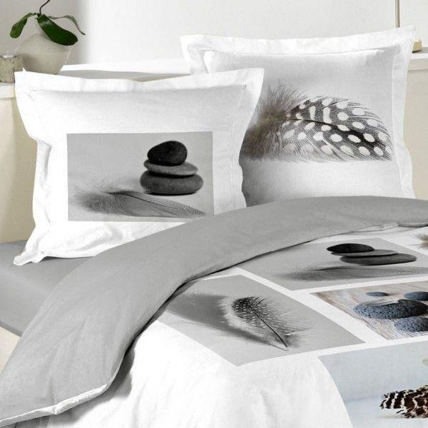 housse de couette et deux taies 240 cm plume zen. Black Bedroom Furniture Sets. Home Design Ideas