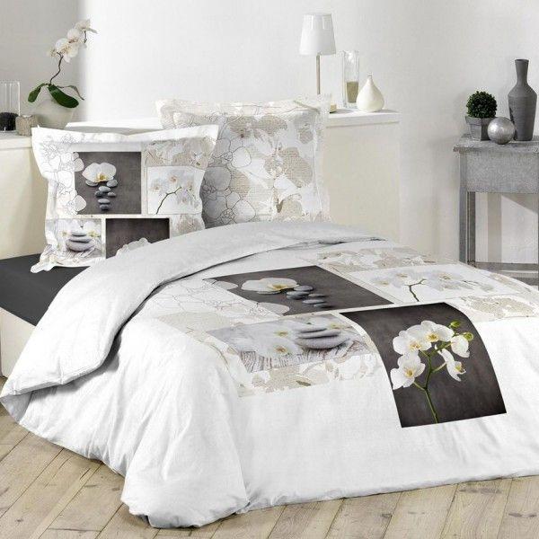 housse de couette et deux taies 240 cm orchidea zen linge de lit eminza. Black Bedroom Furniture Sets. Home Design Ideas