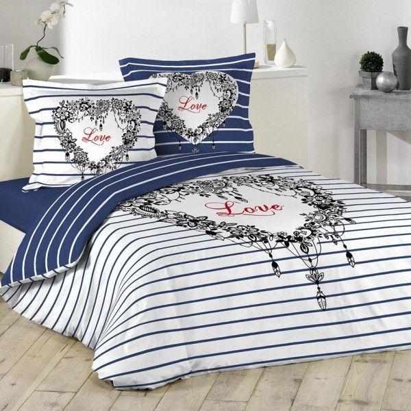 housse de couette bleu linge de lit eminza. Black Bedroom Furniture Sets. Home Design Ideas