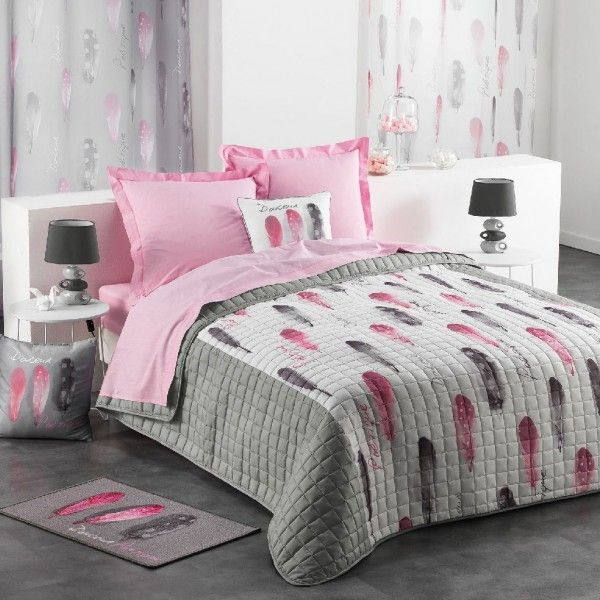 couvre lit 220 x 240 cm po tique rose linge de lit. Black Bedroom Furniture Sets. Home Design Ideas