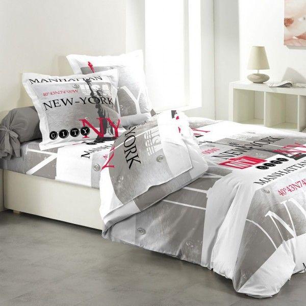 parure de couette 5 pi ces manhattan parure de draps eminza. Black Bedroom Furniture Sets. Home Design Ideas