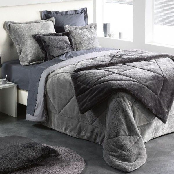 couvre lit boutis gris linge de lit eminza. Black Bedroom Furniture Sets. Home Design Ideas