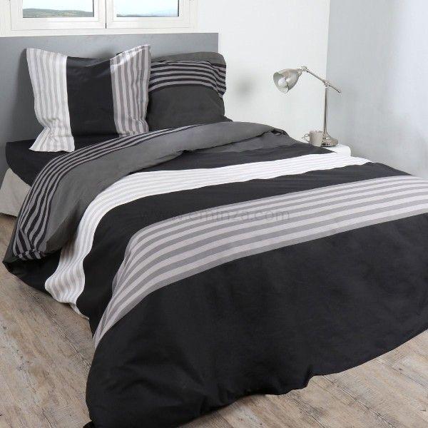 Housse de couette noir linge de lit eminza for Couette deux personnes