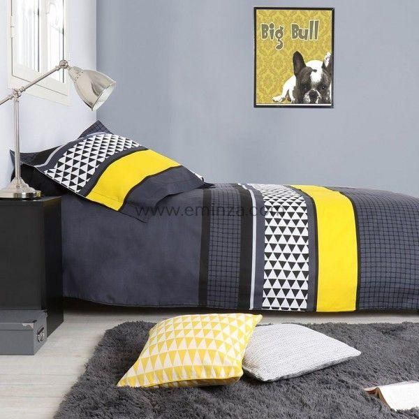 Housse de couette 240 x 220 cm linge de lit eminza - Housse de couette jaune et grise ...