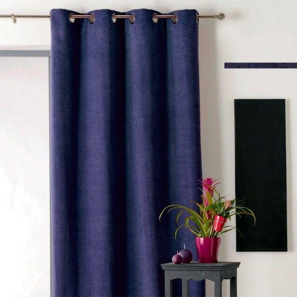 rideau occultant isolant 140 x h260 cm alaska bleu marine rideau voilage store eminza. Black Bedroom Furniture Sets. Home Design Ideas