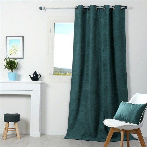 Rideau occultant isolant 140 x h260 cm alaska vert rideau voilage store eminza for Rideau occultant isolant
