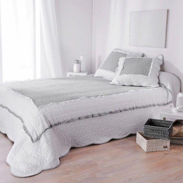 couvre lit boutis blanc linge de lit eminza. Black Bedroom Furniture Sets. Home Design Ideas