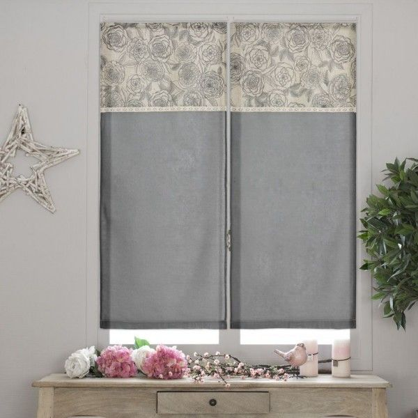 paire de voilage 60 x h90 cm rosa etamine gris anthracite rideau voilage store eminza. Black Bedroom Furniture Sets. Home Design Ideas