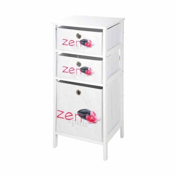meuble 3 paniers zen spirit blanc et rose meuble de. Black Bedroom Furniture Sets. Home Design Ideas