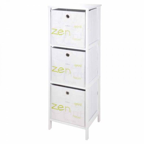 Meuble 3 paniers grand format Nature zen Blanc