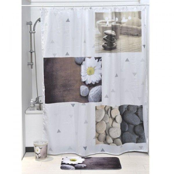 rideau de douche rideau effet tissu douche baignoire eminza. Black Bedroom Furniture Sets. Home Design Ideas