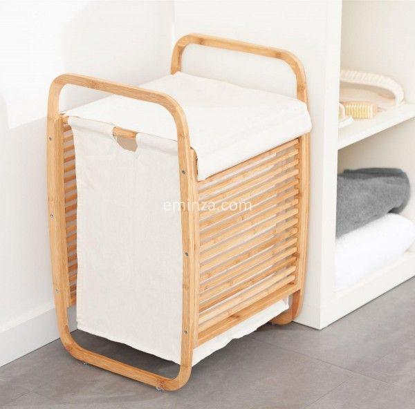 panier linge bambou rangement eminza. Black Bedroom Furniture Sets. Home Design Ideas