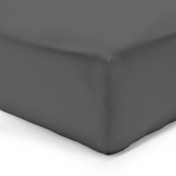 drap housse coton 200 cm lisa uni gris anthracite drap housse eminza. Black Bedroom Furniture Sets. Home Design Ideas