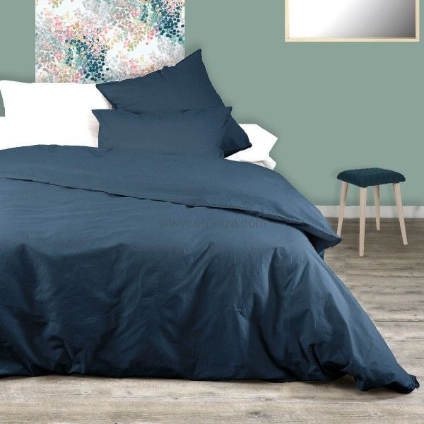Housse de couette coton teint lav linge de lit eminza for Housse couette bleu marine