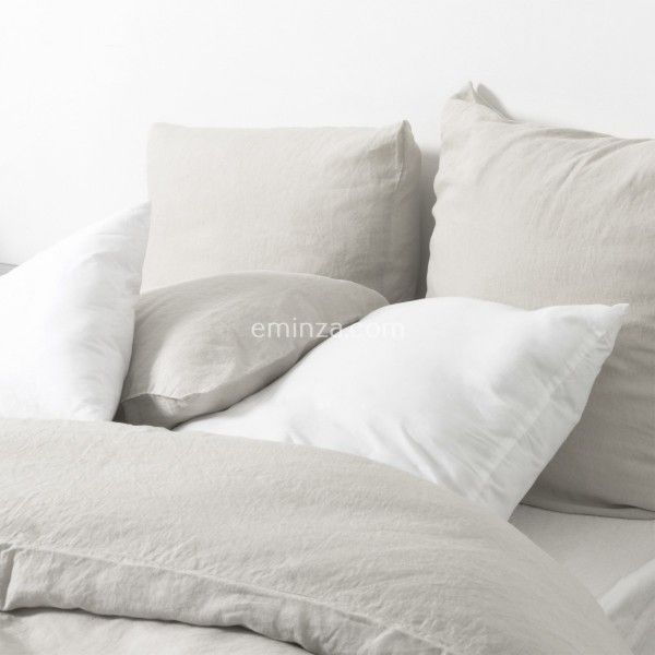 housse de couette 240 cm lin lav sonate ficelle linge de lit eminza. Black Bedroom Furniture Sets. Home Design Ideas