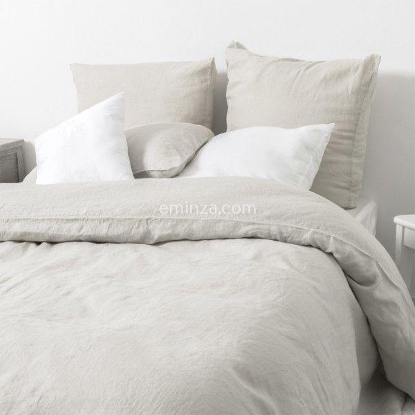 housse de couette 260 cm lin lav sonate ficelle linge de lit eminza. Black Bedroom Furniture Sets. Home Design Ideas