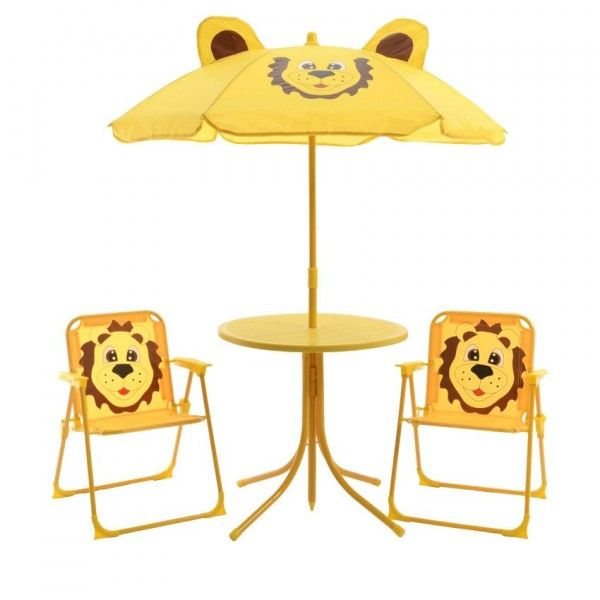 salon de jardin pour enfant lion jaune am nagement d. Black Bedroom Furniture Sets. Home Design Ideas