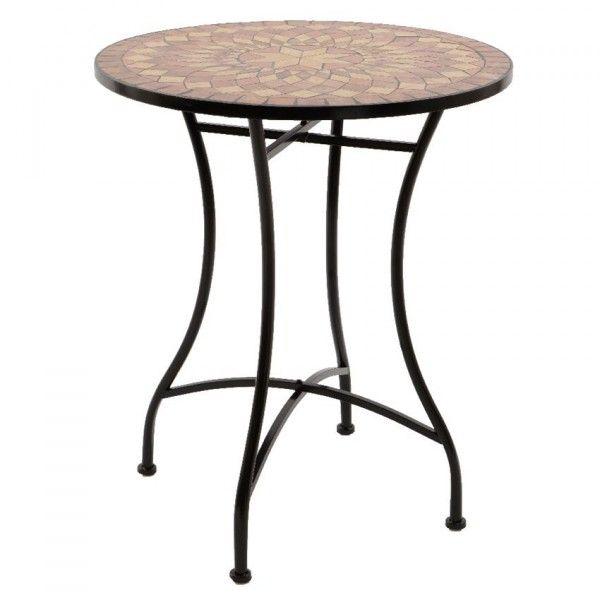 Table de jardin Mosaïque Valentine - Brun - Salon de jardin, table ...