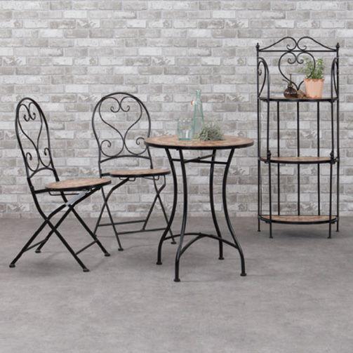 Table de jardin Mosaïque Valentine - Brun