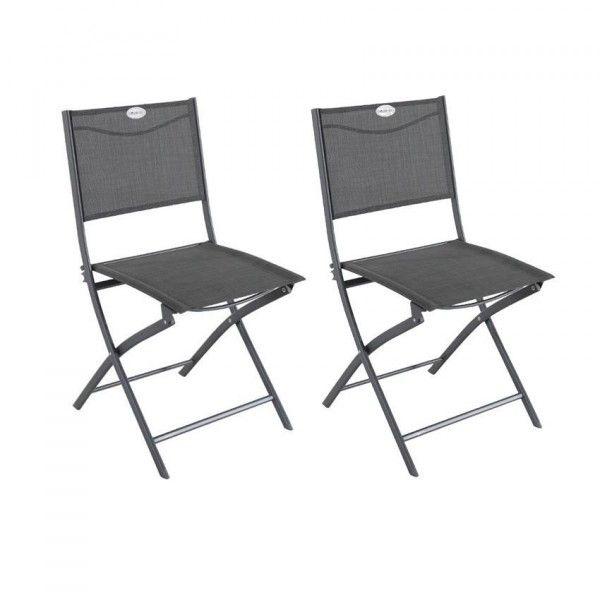 Lot de 2 chaises de jardin pliantes Modula Anthracite chinéGraphite