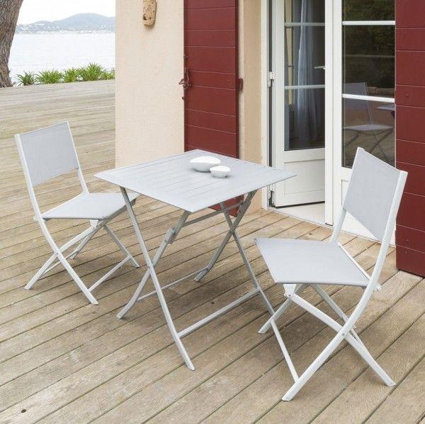 Table de jardin pliante Aluminium Azua (71 x 71 cm) - Silver mat ...