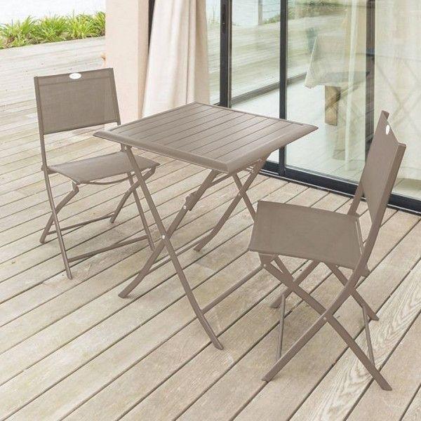 Table de jardin pliante Aluminium Azua (71 x 71 cm) - Taupe - Salon ...