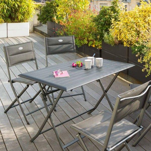 Table De Jardin Pliante Aluminium Azua (110 X 71 Cm)   Ardoise