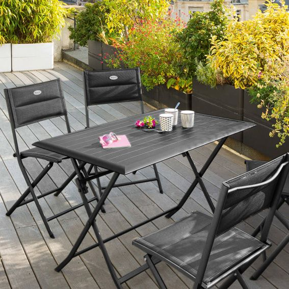 Table de jardin pliante Aluminium Azua (110 x 71 cm) - Graphite