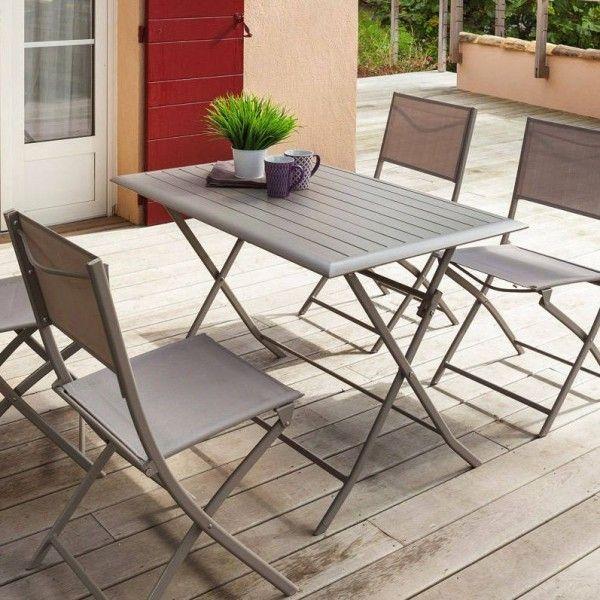 Table de jardin pliante Aluminium Azua (110 x 71 cm) - Taupe - Table ...