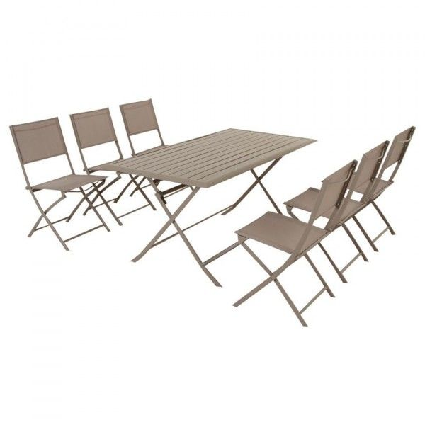 Table de jardin pliante aluminium azua 150 x 80 cm - Salon de jardin hesperide azua taupe ...