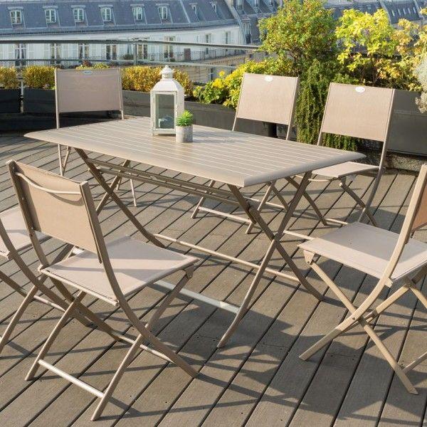 Table de jardin pliante Aluminium Azua (150 x 80 cm) - Taupe