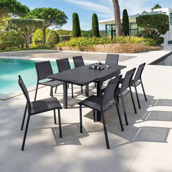 Table de jardin extensible aluminium piazza 180 x 90 cm graphite salon de jardin table et - Table de jardin aluminium ...