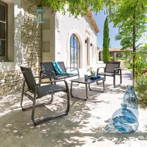 Salon de Jardin Gili Anthracite - 4 places