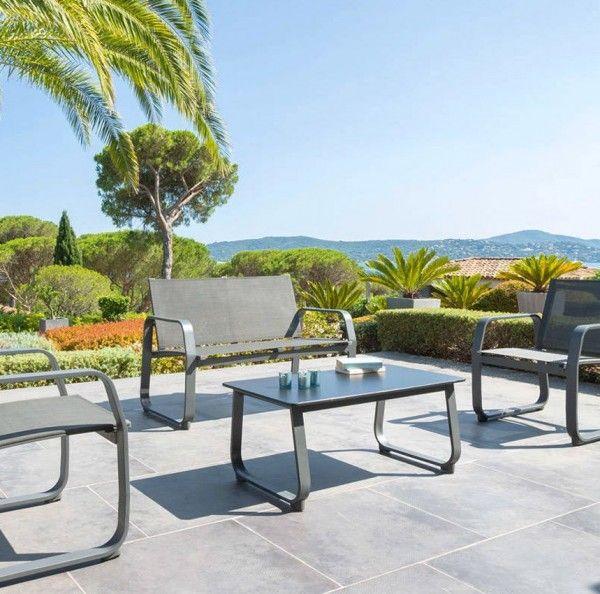Salon de Jardin Gili Anthracite - 4 places - Salon de jardin, table ...