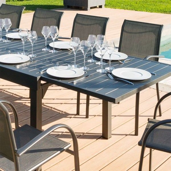 Table de jardin extensible Aluminium Piazza (270 x 90 cm) - Graphite ...