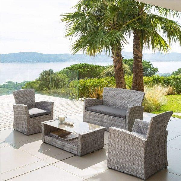 salon de jardin bora bora gris clair gris fonc 4 places salon de jardin eminza. Black Bedroom Furniture Sets. Home Design Ideas