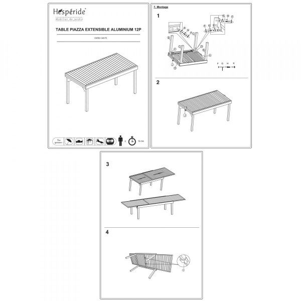 Table de jardin extensible Aluminium Piazza (320 x 100 cm) - Graphite