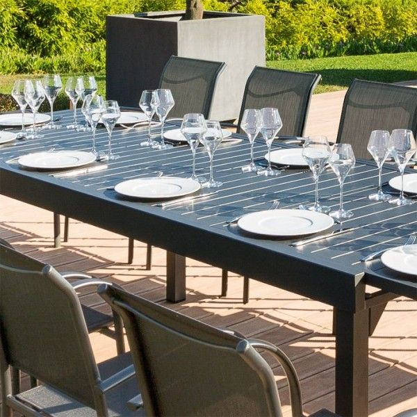 Table de jardin extensible aluminium piazza 320 x 100 cm graphite salon de jardin table - Table de jardin aluminium ...