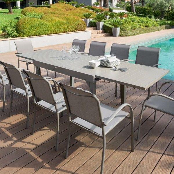 Table de jardin extensible Aluminium Piazza (max. 300 cm) - Taupe ...