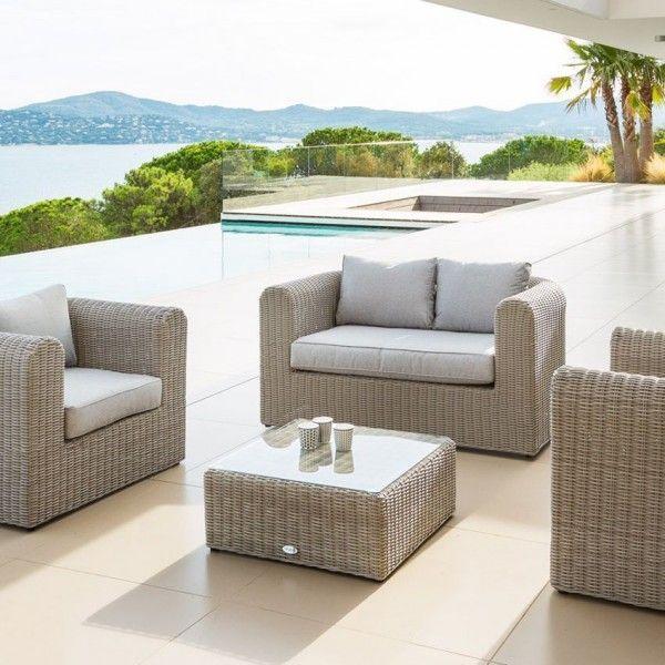 canap de jardin 2 places libertad sable gris clair salon composer eminza. Black Bedroom Furniture Sets. Home Design Ideas