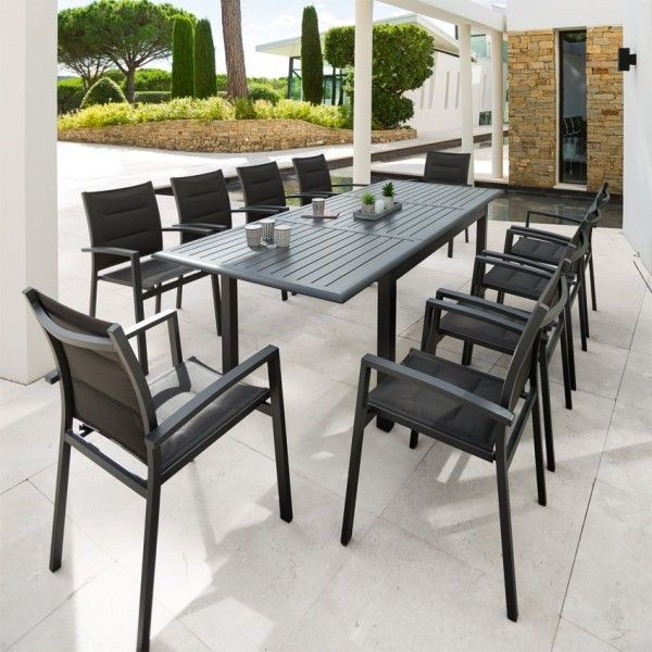 Table de jardin extensible Aluminium Azua (240 x 100 cm) - Graphite